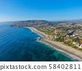 Aerial view of Monarch beach coastline 58402811