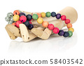 Colorful wooden bead isolated on grey wood 58403542
