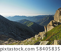 rocky mountain scenery boulders with the meadow and blue sky 58405835