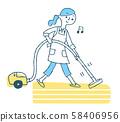 清潔吸塵器的婦女 58406956