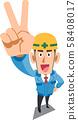 피스 사인을 나타내는 푸른 작업복을 입은 건축 현장 작업 원 58408017