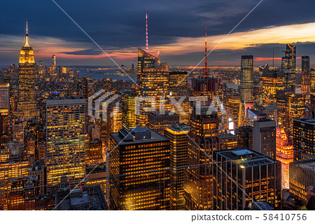 Top Scene of New York City cityscape in lower manhattan at the twilight time, USA downtown skyline, Architecture and building with tourist concept 58410756
