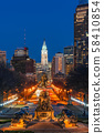 Scene of George Washington statue oand street in Philadelphia over the city hall with cityscape background at the twilight time, United States of America or USA, history and culture for travel concept 58410854