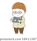 戴著眼鏡,拿著照相機的男孩 58411387