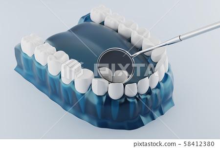 Dental and Dental Mouth Mirror Blue color transparent. 3d illustrations. 58412380