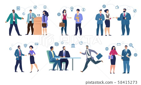 Mix Raced Businesspeople Set in Various Situation - Stock Illustration  [58415273] - PIXTA