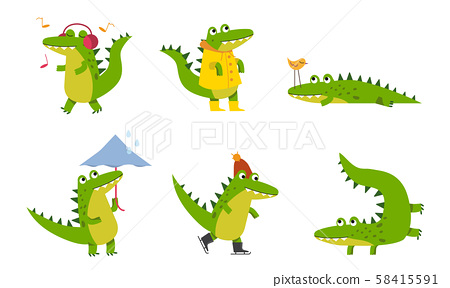 Big Green Crocodiles With Different Emotions In Various Poses Vector Illustrations Cartoon Character 58415591