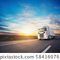 European truck vehicle with dramatic sunset light 58416076
