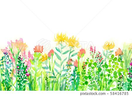 자연 풍경 꽃밭 하늘 수채화 58416785