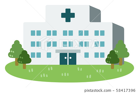 Hospital lawn and planting 58417396
