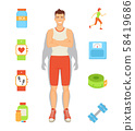 Weight Loss Person and Icons Vector Illustration 58419686