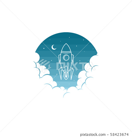 space rocket shuttle science art theme vector 58423674