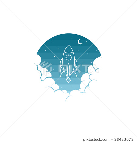 space rocket shuttle science art theme vector 58423675