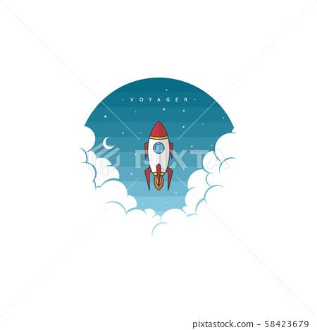 space rocket shuttle science art theme vector 58423679