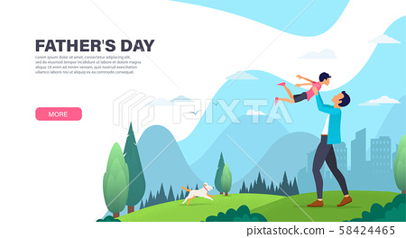 Father with his son spend time together outdoor. Father playing with his son. Father day 58424465