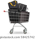 Vector Supermarket Trolley with Black Shopping 58425742