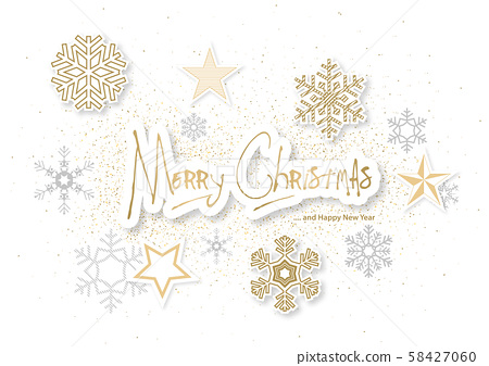 Xmas Background with Gold and Silver Ornaments 58427060