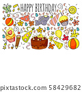 Vector set of cute creative illustration templates with birthday theme design. Hand Drawn for 58429682