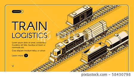 Train logistics service isometric website 58430798