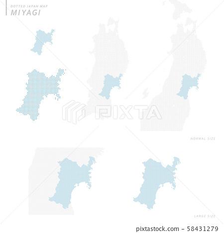 dotted Japan map, Miyagi 58431279