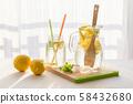 homemade lemonade with lemons, mint and ice 58432680