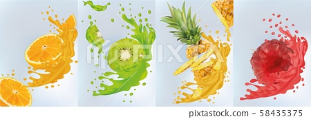 Fruit juice, pineapple, kiwi, orange, raspberry. Fresh fruits. Fruit splashes close up. Vector 58435375