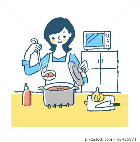家庭主婦在廚房做飯 58435971