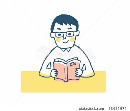 책을보고있는 안경의 남성 58435975