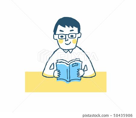 책을보고있는 안경의 남성 58435986