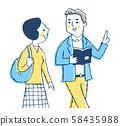 걷는 남녀 블루 58435988