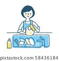 가사 식기를하는 여성 블루 58436184