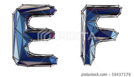 Letter set E, F made of realistic 3d render blue color. Collection of low polly style alphabet 58437179
