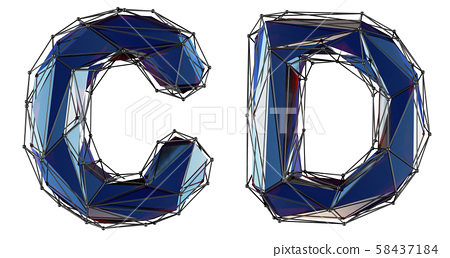 Letter set C, D made of realistic 3d render blue color. Collection of low polly style alphabet 58437184