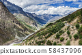 Panorama of Chandra river in Lahaul valley in Himalayas 58437996