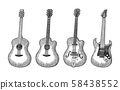 Acoustic and electric guitar. Vintage vector black 58438552