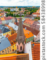 Aerial view of Jindrichuv Hradec from church tower, Czech Republic 58438998