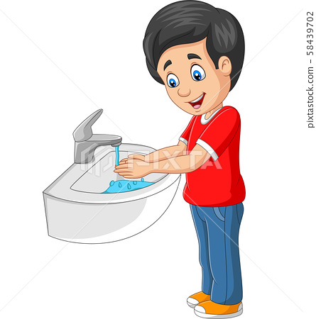 Little boy washing his hands on a white background 58439702
