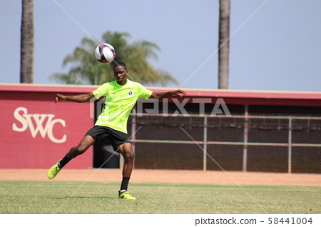 Volley shot scene of a foreign soccer player 58441004