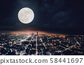 aerial view of citr at night with full moon 58441697