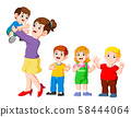Mom hugging her child and playing with her children 58444064