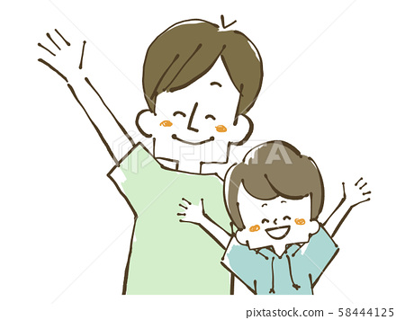Parent and child-father and son-smile 58444125