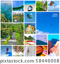 Travel activity - Collage from views of the Caribbean beaches - Boat trip snorkeling in exotic 58446008