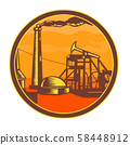 Oil Well With Pump Jack Circle Icon Retro 58448912