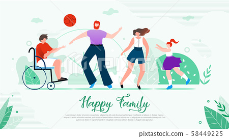 Disabled Child Happy Family Flat Vector Banner 58449225