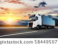 European truck vehicle with dramatic sunset light 58449507