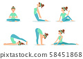 Girl Doing Yoga in Different Poses Set, Young Woman Performing Physical Exercises Vector 58451868
