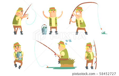 Fisherman Catching Fish with Fishing Rod Set, Funny Fisher Cartoon Character Having Active Leisure 58452727