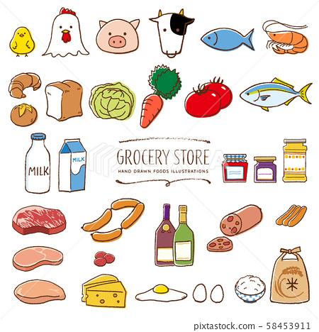 超市雜貨店手繪插圖顏色 58453911