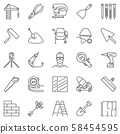 Construction and building vector icons set in thin line style 58454595