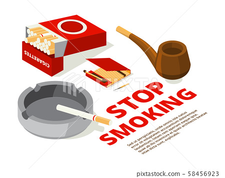 Concept illustrations of stop smoking theme. Various isometric pictures of tools for smokers 58456923
